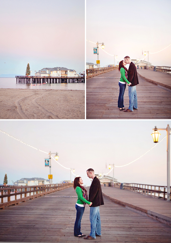 Engagement photographs at the beach and pier in Santa Barbara.