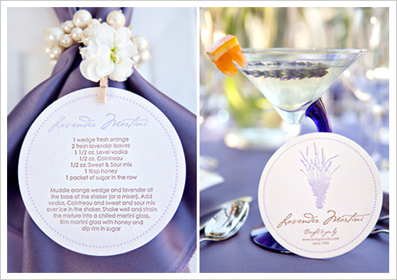 Inspiration and recipe for a lavender martini, perfect for a lavender inspired wedding.