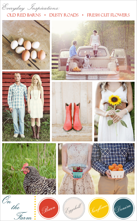An inspiration board for a farm-themed engagement session by Ojai wedding photographers, Lavender & Twine.