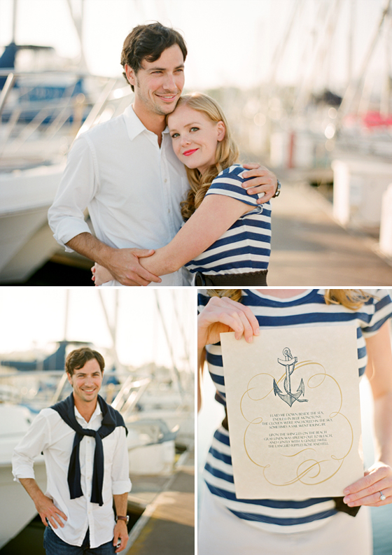 An engagement session photographed at the Santa Barbara Harbor