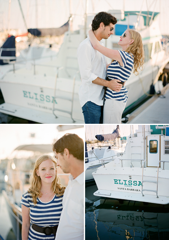 A nautical engagement session photographed at the Santa Barbara Harbor.