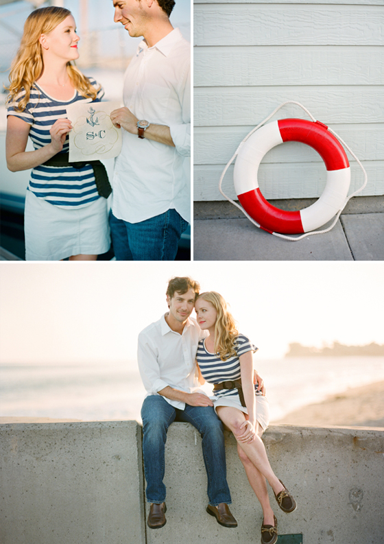 A nautical engagement session photographed at the Santa Barbara Harbor