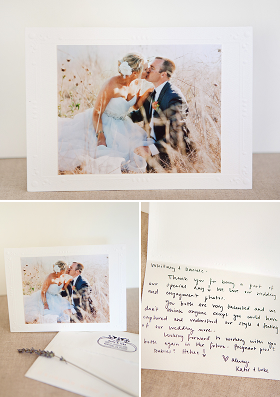 A thank you note given to Lavender & Twine Photography by a client.